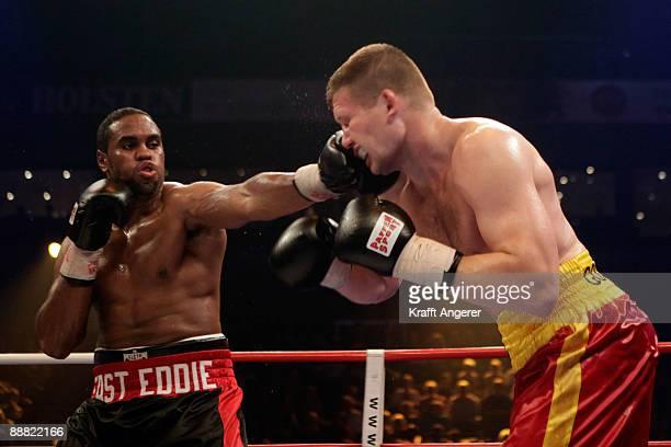 Eddie Chambers of the USA fights Alexander Dimitrenko of Ukraine during the WBO Eliminator Heavyweight fight during the Universum Champions Night at...