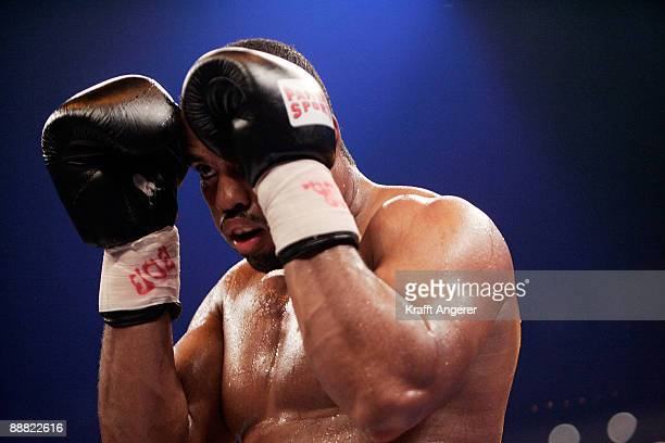 Eddie Chambers of the USA fights Alexander Dimitrenko of Ukraine during the WBO Eliminator Heavyweight fight during the Universum Champions Night at...