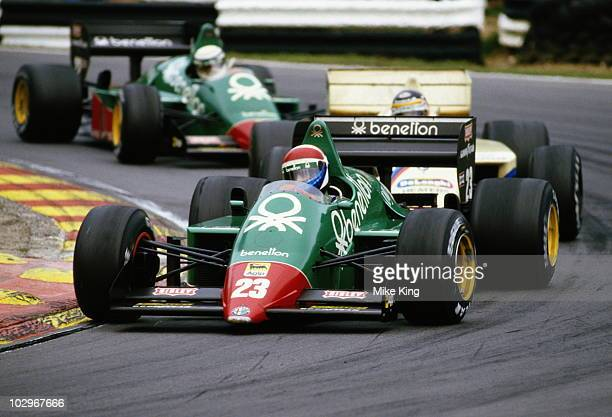 Eddie Cheever drives the Benetton Team Alfa Romeo 184TB Turbo followed by Thierry Boutsen and Alfa Romeo team mate Riccardo Patrese during the Shell...