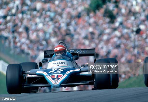 Eddie Cheever of the USA driving a Ligier JS19 with a Magra V12 engine for Equipe Talbot Gitanes during the British Formula 1 Grand Prix at Brands...