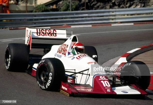 Eddie Cheever of the USA, driving an Arrows A11 with a Ford Cosworth DFR engine for USF&G Arrows, enroute to placing seventh during the Monaco F1...