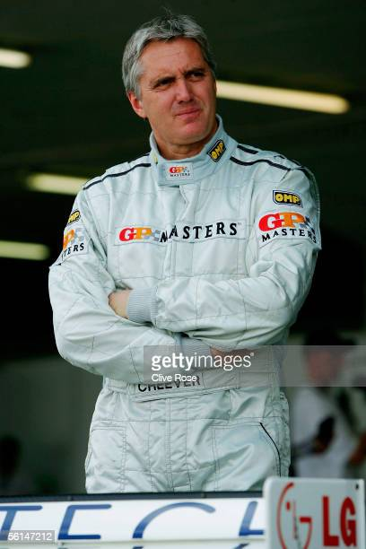Eddie Cheever of the USA in the pits during Qualifying for the Grand Prix Masters race at the Kyalami Circuit on November 12 2005 in Johannesburg...