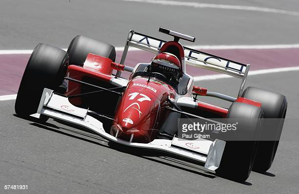 Eddie Cheever of United States in action during practice ahead of the Grand Prix Masters at Losail International Circuit on April 28 in Doha Qatar