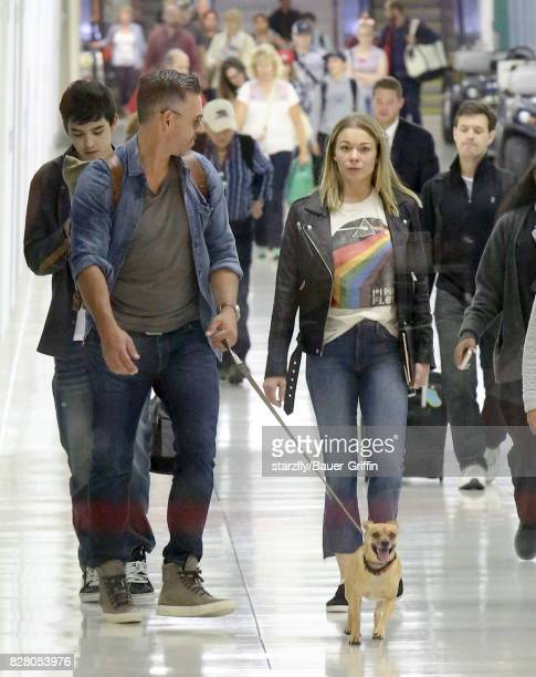Eddie Cibrian and LeAnn Rimes are seen at LAX on August 08 2017 in Los Angeles California