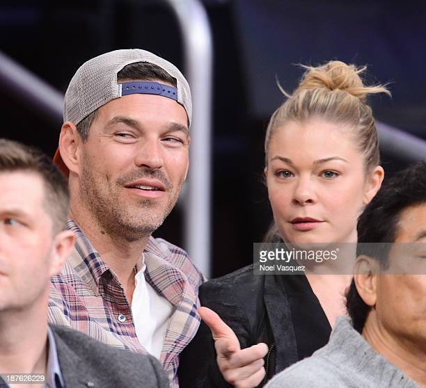 Eddie Cibrian and LeAnn Rimes attends a basketball game between the Minnesota Timberwolves and the Los Angeles Lakers at Staples Center on November...