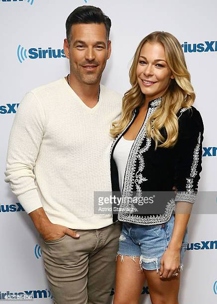 Eddie Cibrian and LeAnn Rimes visit the SiriusXM Studios on July 17 2014 in New York City