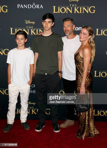 Eddie Cibrian and LeAnn Rimes with children during the premiere of Disney's The Lion King at Dolby Theatre on July 09 2019 in Hollywood California