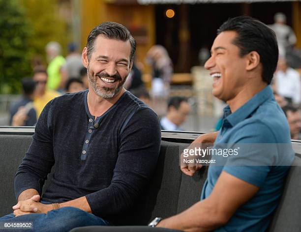 Eddie Cibrian and Mario Lopez visit Extra at Universal Studios Hollywood on September 13 2016 in Universal City California