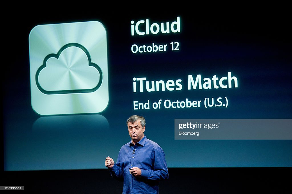 Eddie Cue, senior vice president of Internet Software and Services at Apple Inc., speaks about new features of the iCloud service during an event at the company's headquarters in Cupertino, California, U.S., on Tuesday, Oct. 4, 2011. Apple Inc., in its first product unveiling since Steve Jobs resigned as chief executive officer, introduced a faster iPhone with voice features and a higher-resolution camera to help it vie with Google Inc.'s Android. Photographer: David Paul Morris/Bloomberg via Getty Images
