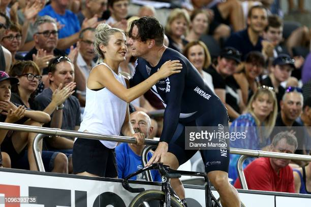 Eddie Dawkins of New Zealand celebrates with his wife Alysha after finishing first in the Men's Keirin final during the 2018 UCI Track World Cup on...