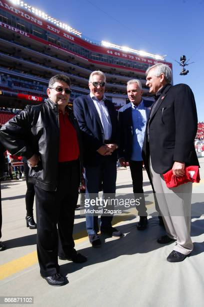 Eddie DeBartolo Jr and Joe Montana stand on the sideline prior to the game between the San Francisco 49ers and the Dallas Cowboys at Levi's Stadium...