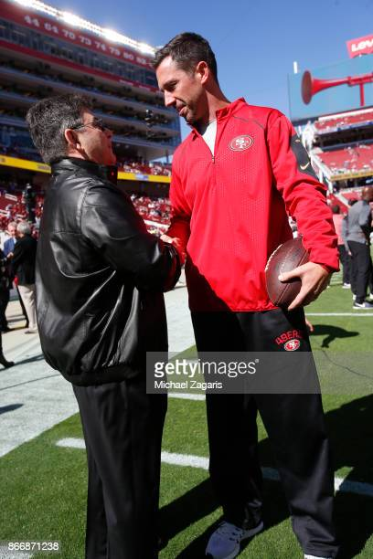 Eddie DeBartolo Jr talks with Head Coach Kyle Shanahan of the San Francisco 49ers on the field prior to the game between the 49ers and the Dallas...