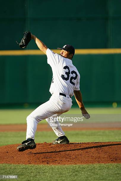 Eddie Degerman of the Rice Owls pitches against the Oregon State Beavers during NCAA College World Series Baseball at Rosenblatt Stadium on June 22...