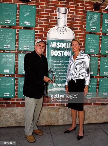 Eddie Doyle and Stacey Lucchino attend the unveiling for the ABSOLUT Boston Flavor at Boylston Plaza Prudential Center on August 26 2009 in Boston...