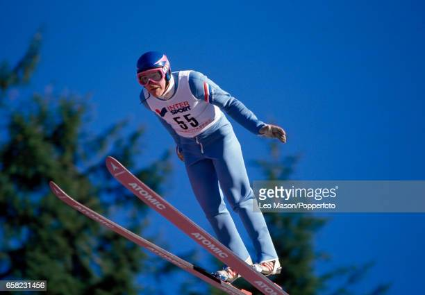 Eddie Edwards of Great Britain during a training session circa February 1988 Edwards became better known as Eddie The Eagle following the Olympic...