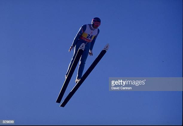 Eddie Edwards of Great Britain in action in the 90 meter ski jump during the Winter Olympics in Calgary Alberta Canada