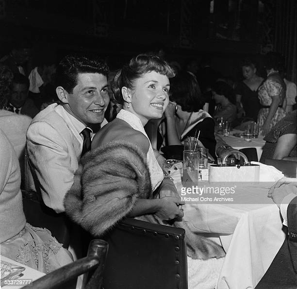 Eddie Fisher and Debbie Reynolds at Mocambo's in Los Angeles,CA.