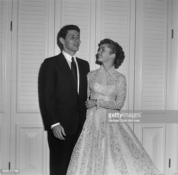 Eddie Fisher and Debbie Reynolds pose during their party at Cantors in Los Angeles,CA.