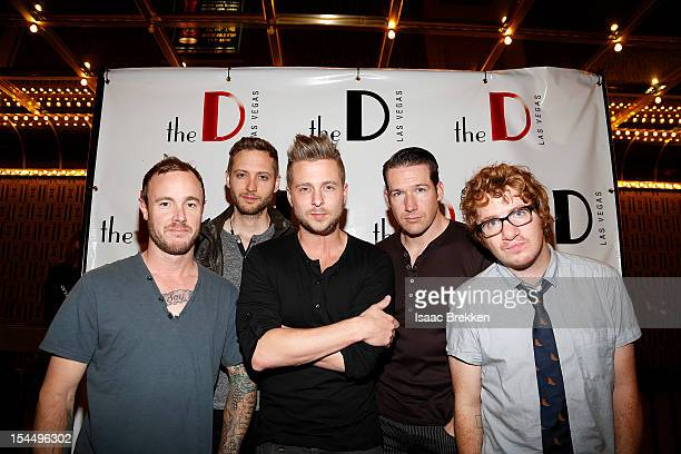 Eddie Fisher Brent Kutzle Ryan Tedder Zach Filkins and Drew Brown of the band OneRepublic arrive at the D Las Vegas grand opening celebration at the...
