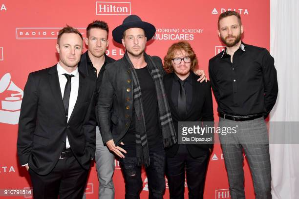 Eddie Fisher Zach Filkins Ryan Tedder Drew Brown and Brent Kutzle of music group OneRepublic attend MusiCares Person of the Year honoring Fleetwood...