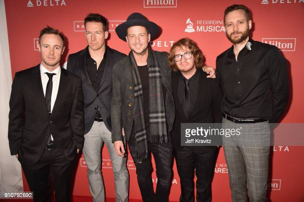 Eddie Fisher Zach Filkins Ryan Tedder Drew Brown and Brent Kutzle of One Republic attend MusiCares Person of the Year honoring Fleetwood Mac at Radio...