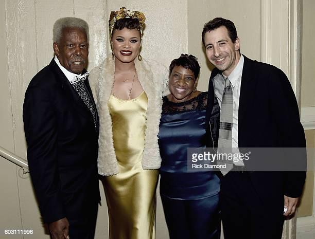 Eddie Floyd Andra Day Mrs Karla ReddingAndrews and Jonathan Shank backstage during Otis Redding 75th Birthday Celebration at the Macon City...