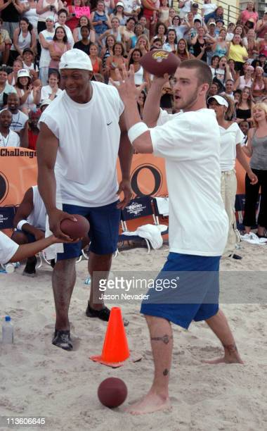 Eddie George amd Justin Timberlake during *NSYNC's Challenge for the Children V Celebrity Skills Challenge at Collins Park in Miami Beach Florida...