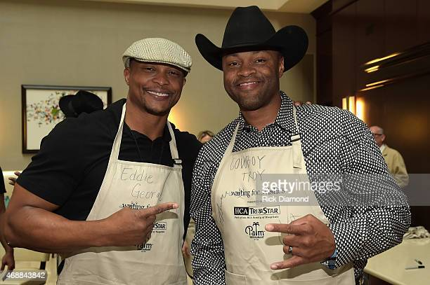 Eddie George and Cowboy Troy attend the 14th Annual Kevin Carters Waiting for Wishes Celebrity Waiters Dinner presented by HCA / TriStar benefitting...