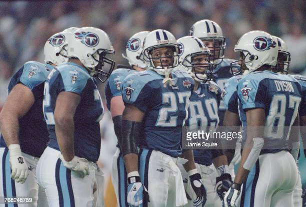 Eddie George Running Back for theTennessee Titans looks out from his team mates during their National Football League Super Bowl XXXIV game against...