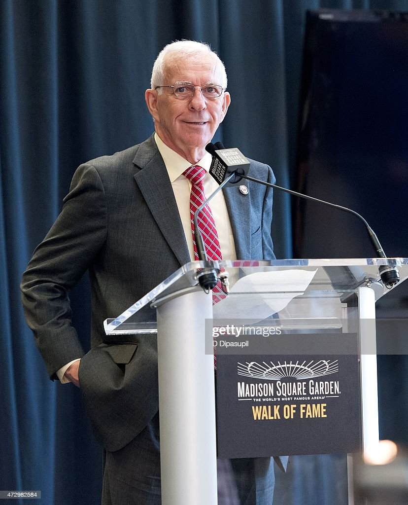 Eddie Giacomin speaks onstage during the Madison Square Garden 2015 Walk Of Fame Inductions at Madison Square Garden on May 11, 2015 in New York City.