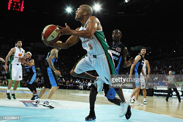 Eddie Gill of the Crocodiles lays the ball up during game three of the NBL Finals series between the Townsville Crocodiles and the New Zealand...
