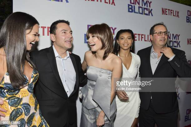 Eddie Gonzalez Paula Garces Ronni Hawk Sierra Capri and Jeremy Haft arrive at the premiere of Netflix's 'On My Block' at NETFLIX on March 14 2018 in...