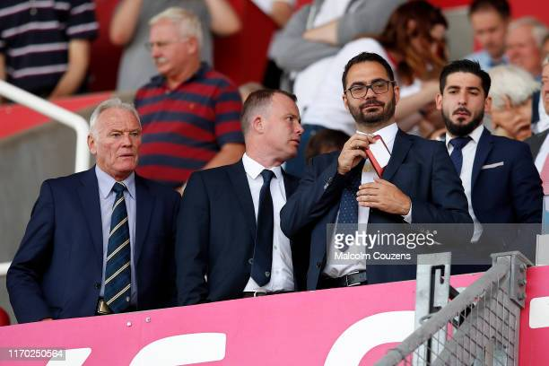 Eddie Gray Angus Kinnear and Victor Orta of Leeds United look on from the direcors box during the Sky Bet Championship match between Stoke City and...