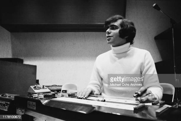 Eddie Gray the guitarist of the band Tommy James and the Shondells using a ShoBud pedal steel guitar during a recording session for their track...