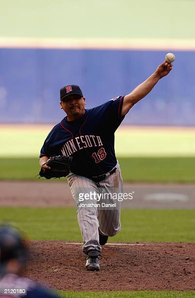 Eddie Guardado of the Minnesota Twins pitches during the interleague game against the Milwaukee Brewers on June 22 2003 at Miller Park in Milwaukee...