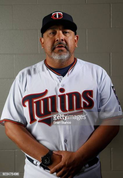 Eddie Guardado of the Minnesota Twins poses for a portrait on February 21 2018 at Hammond Field in Ft Myers Florida