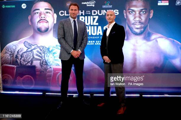 Eddie Hearn and Omar Khalil during a press conference at The Savoy Hotel London