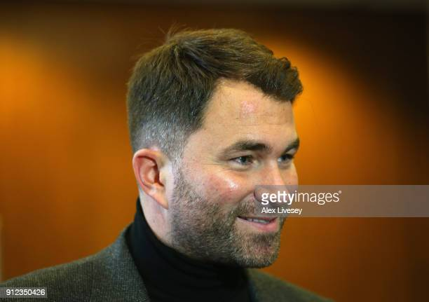 Eddie Hearn is interviewed during a press conference ahead of the Amir Khan v Phil Lo Greco fight at the Hilton Hotel on January 30 2018 in Liverpool...