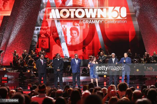 Eddie Holland Lamont Dozier Brian Holland Valerie Simpson William 'Mickey' Stevenson and Smokey Robinson appear onstage during Motown 60 A GRAMMY...