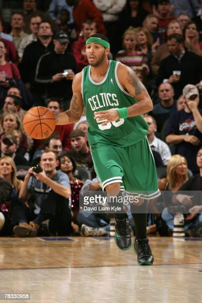 Eddie House of the Boston Celtics moves the ball up court during the game against the Cleveland Cavaliers at The Quicken Loans Arena on November 27...