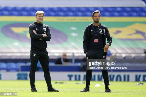 Eddie Howe and Jason Tindall of Bournemouth before the Premier League match between Everton FC and AFC Bournemouth at Goodison Park on July 26 2020...