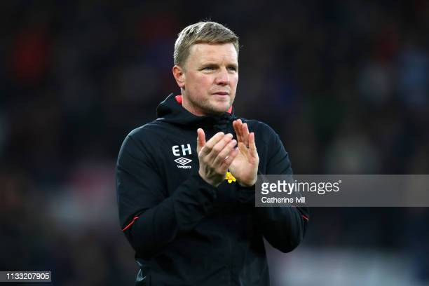 Eddie Howe Manager of AFC Bournemouth acknowledges the fans following the Premier League match between AFC Bournemouth and Manchester City at...