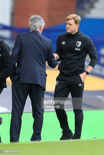Eddie Howe Manager of AFC Bournemouth and Carlo Ancelotti Manager of Everton shake hands after the Premier League match between Everton FC and AFC...