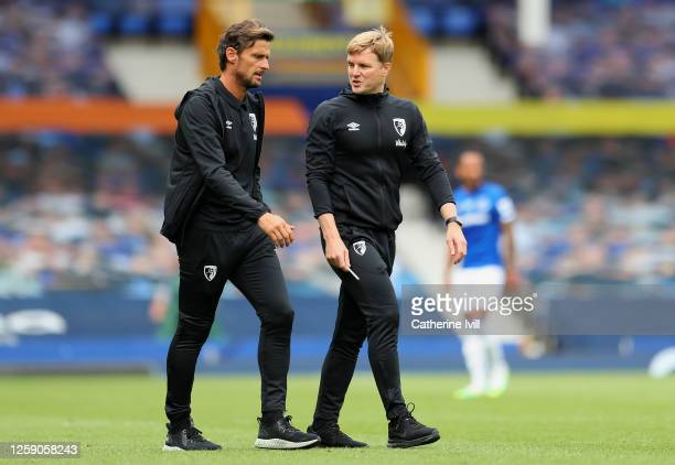 Eddie Howe Manager of AFC Bournemouth and his assistant Jason Tindall walk off after half time during the Premier League match between Everton FC and...