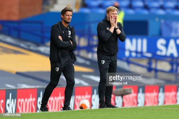 Eddie Howe Manager of AFC Bournemouth and his assistant Jason Tindall look on during the Premier League match between Everton FC and AFC Bournemouth...