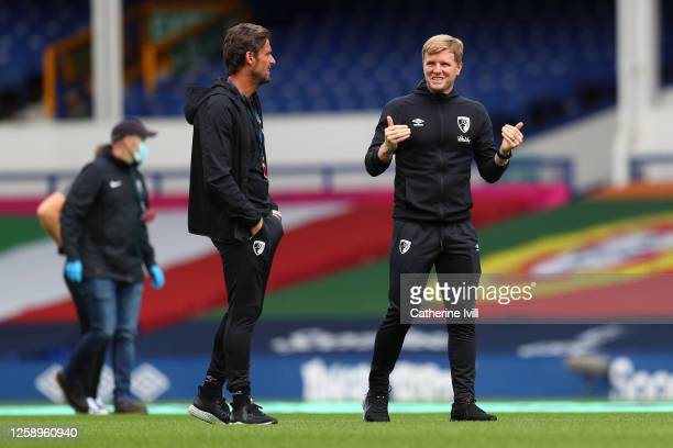 Eddie Howe Manager of AFC Bournemouth and Jason Tindall Assistant Manager of AFC Bournemouth inspect the pitch prior to the Premier League match...