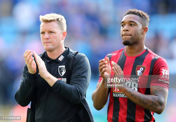 Eddie Howe, Manager of AFC Bournemouth and Jordon Ibe of AFC Bournemouth acknowledge the fans following their teams defeat in the Premier League...