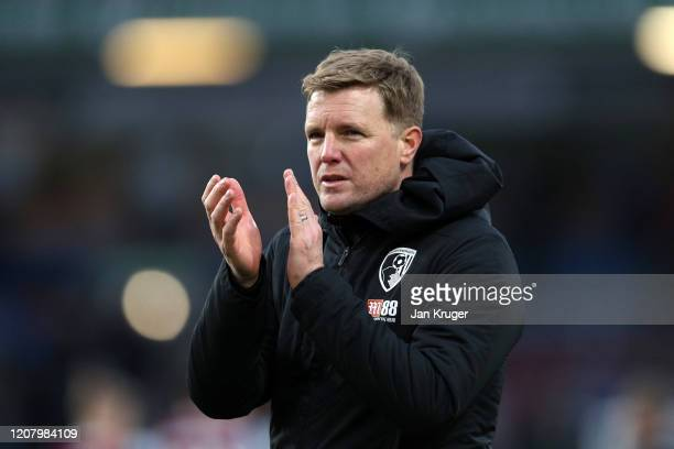 Eddie Howe, Manager of AFC Bournemouth applauds fans after the Premier League match between Burnley FC and AFC Bournemouth at Turf Moor on February...