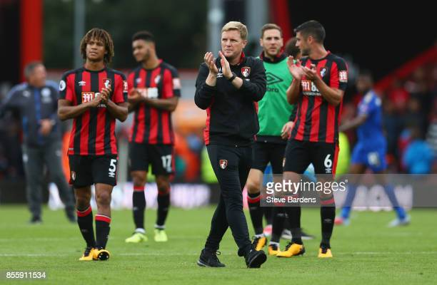 Eddie Howe Manager of AFC Bournemouth applauds supporters after the scoreless draw in the Premier League match between AFC Bournemouth and Leicester...