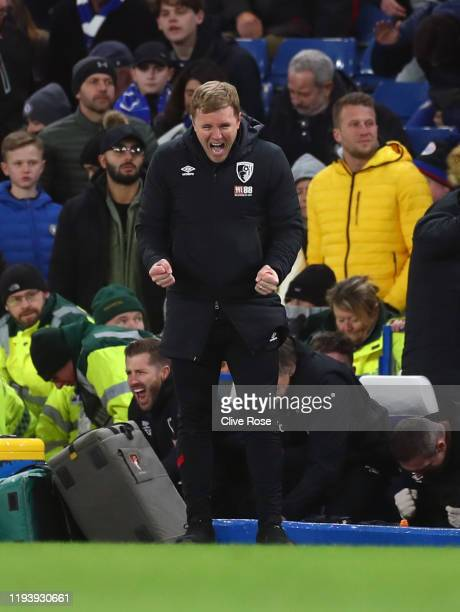 Eddie Howe, Manager of AFC Bournemouth celebrates at the final whistle after his sides victory during the Premier League match between Chelsea FC and...
